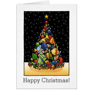 Cool Modern Custom Christmas Gift Tree Art Greeting Card