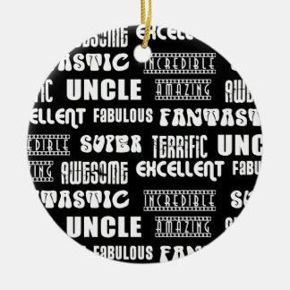 Cool Modern Design for Uncles : Positive Words Double-Sided Ceramic Round Christmas Ornament