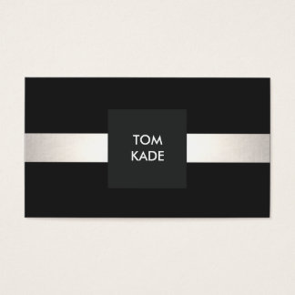Cool Modern Designer Silver Striped Black Business Card