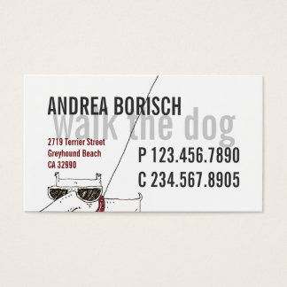 Cool Modern Dog Walker Business Card Template