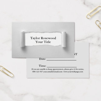 Cool Modern Faux Torn Paper Gray Business Card