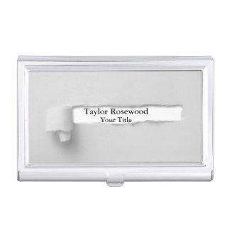 Cool Modern Faux Torn Paper Gray Business Card Case
