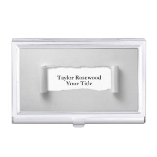 Cool Modern Faux Torn Paper Gray Business Card Holder