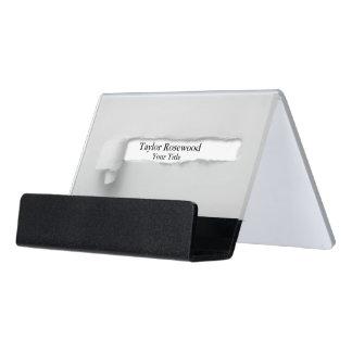 Cool Modern Faux Torn Paper Gray Desk Business Card Holder