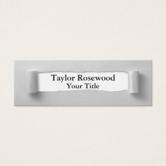 Cool Modern Faux Torn Paper Gray Mini Business Card