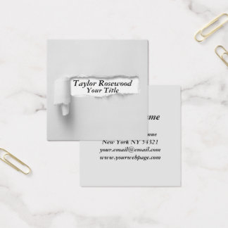 Cool Modern Faux Torn Paper Gray Square Business Card