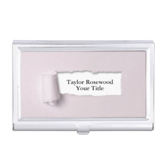 Cool Modern Faux Torn Paper Rose Business Card Holder