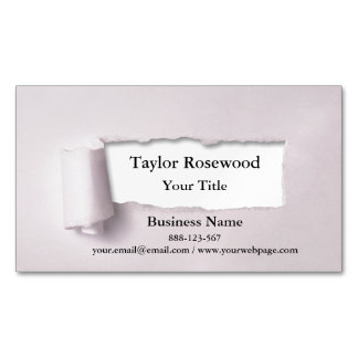 Cool Modern Faux Torn Paper Rose Magnetic Business Card