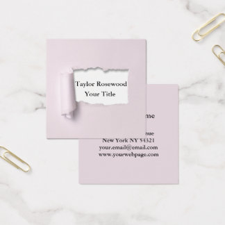 Cool Modern Faux Torn Paper Rose Square Business Card