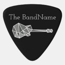 cool, modern & geometric electric-guitar on black guitar pick