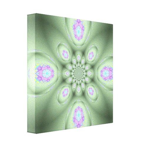 Cool Modern Green Abstract Lavender Petals Canvas Print