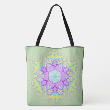 Beach Themed Cool Modern Green Abstract Pastel Mandala Tote Bag