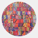 Cool modern letter mosaic round sticker
