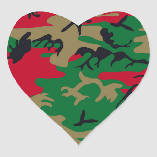 Cool Modern Military Camouflage Design Heart Sticker