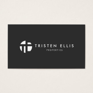 Cool Modern Monogram  Black and White Professional Business Card