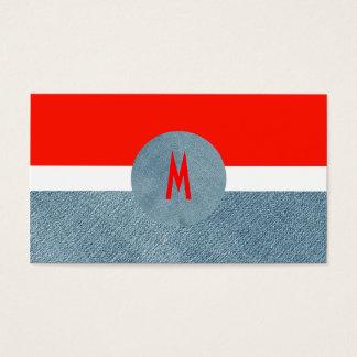 Cool Modern Monogram Unique Trendy Denim Jeans Business Card