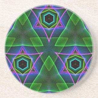 Cool Modern Neon Triangular Layers Drink Coaster