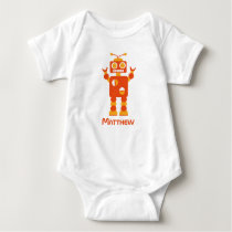 Cool Modern Orange Robot Personalized Baby Baby Bodysuit