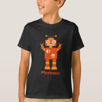 Cool Modern Orange Robot Personalized Boys T-Shirt