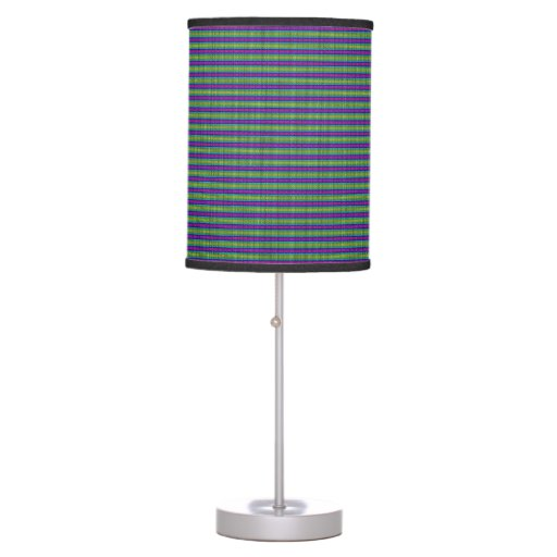Cool modern purple green striped bedside light table for Cool bedside table lamps