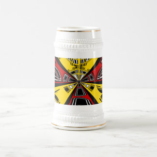Cool modern red and yellow semicircle design 18 oz beer stein