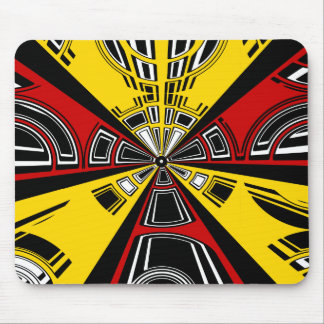 Cool modern red and yellow semicircle design mousepads
