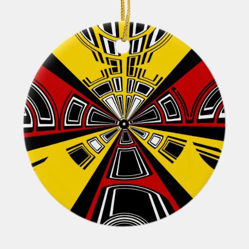 Cool modern red and yellow semicircle design ornaments