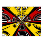 Cool modern red and yellow semicircle design post card