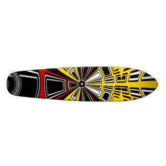 Cool modern red and yellow semicircle design skateboard decks