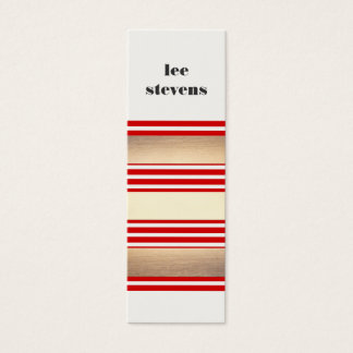 Cool Modern Red Gold and Black Striped Hip Mini Business Card