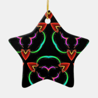 Cool Modern Red Teal Funky Pattern Ceramic Ornament