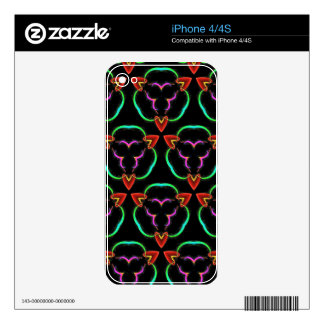 Cool Modern Red Teal Funky Pattern Skin For iPhone 4S