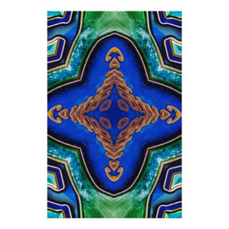 Cool Modern Royal Blue Artistic Pattern Stationery
