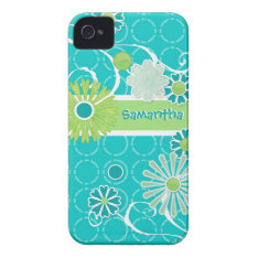 Cool Modern Scroll Swirl Flower Circle Dot Pattern iPhone 4 Cover at Zazzle