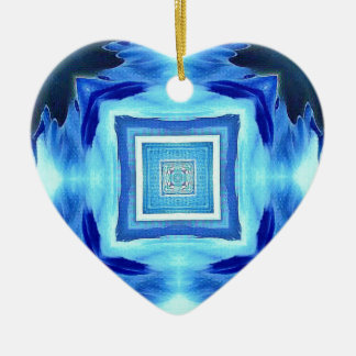 Cool Modern Shades of Blue Patterns Shapes Ceramic Ornament