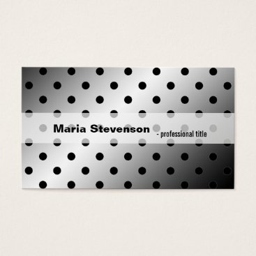 Professional Business Cool, modern shining black & grey polka dots business card