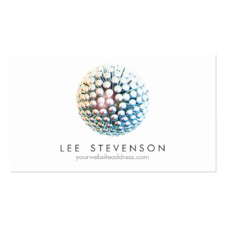 Cool Modern Silver Circles Sphere Double-Sided Standard Business Cards (Pack Of 100)