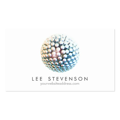 Cool Modern Silver Circles Sphere Business Card