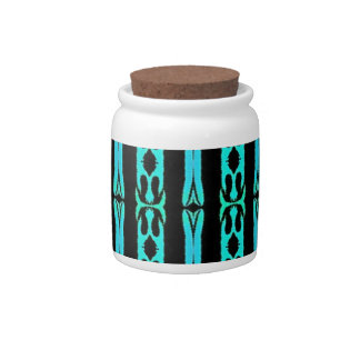 Cool Modern Turquoise Black Tribal Pattern Candy Dishes