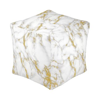 Cool Modern White & Gold marble Stone Texture Cube Pouf