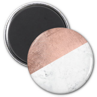Cool modern white marble rose gold color block 2 inch round magnet