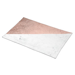 Cool Modern White Marble Rose Gold Color Block Cloth Placemat at Zazzle