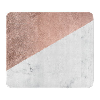 Cool modern white marble rose gold color block cutting board