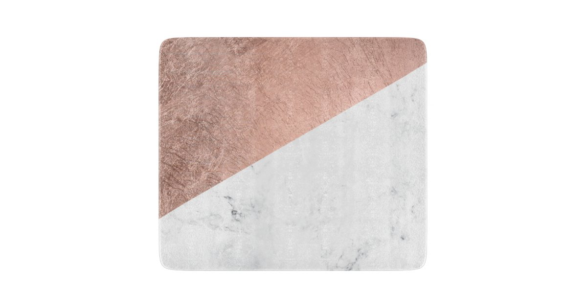 Cool Modern White Marble Rose Gold Color Block Cutting