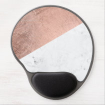 Cool modern white marble rose gold color block gel mouse pad