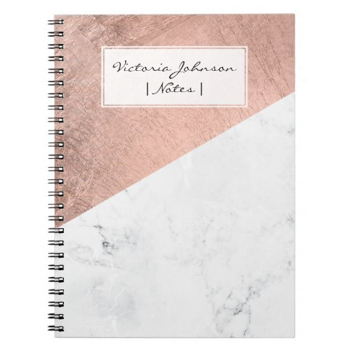 Cool modern white marble rose gold color block notebook