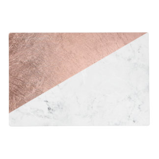 Cool modern white marble rose gold color block placemat