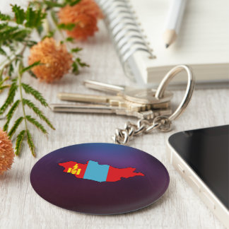 Cool mongolia Flag Map Basic Round Button Keychain