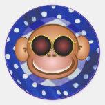 Cool Monkey Round Stickers