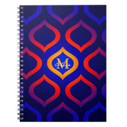 Cool Monogram | Colorful Trellis Pattern Notebook